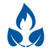 Stilisierte Flamme über zwei Blättern
