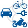 Icon mit E-Auto, E-Fahrrad und E-Roller