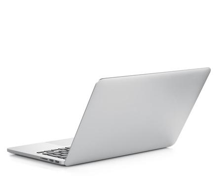 Aufgeklappter Laptop in Rückenansicht